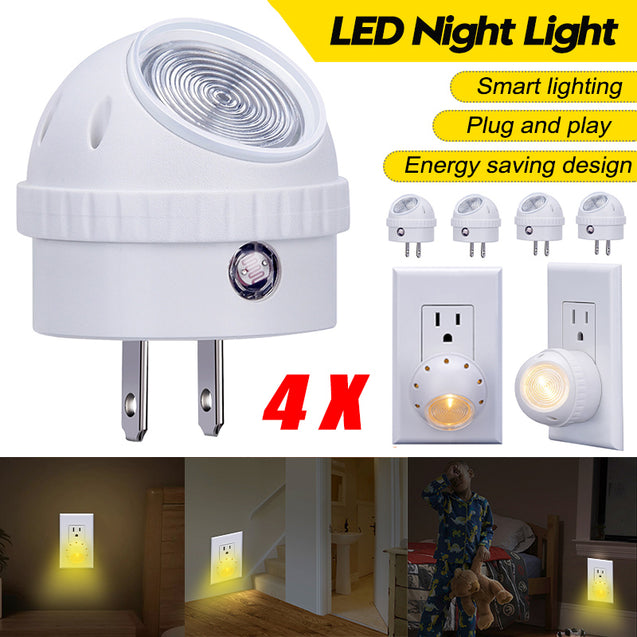 4PCS LED Night Light Wall Mount Plug-in Light Control Lamp for Bedroom Home Toilet EU Plug 220V