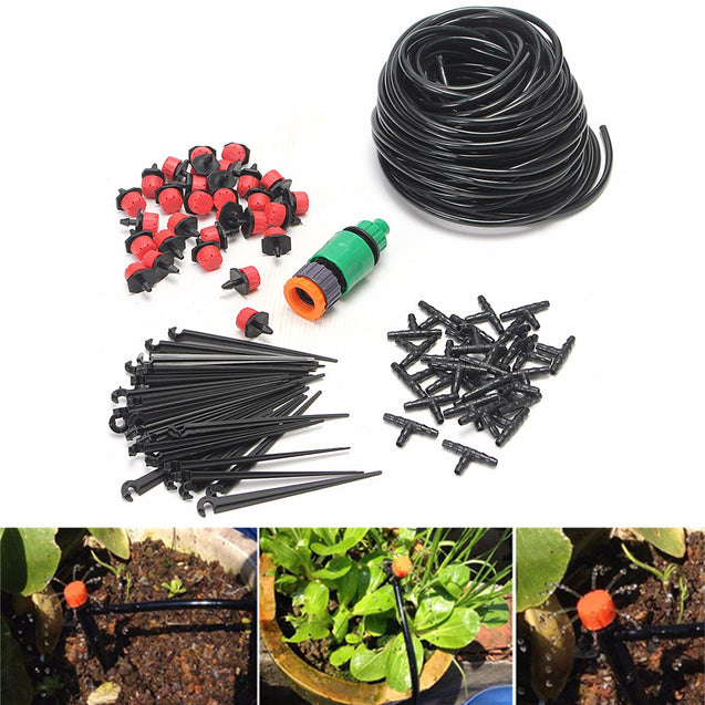 DIY 25m Micro Drip Irrigation System Auto Timer Self Plant Watering Garden Hose