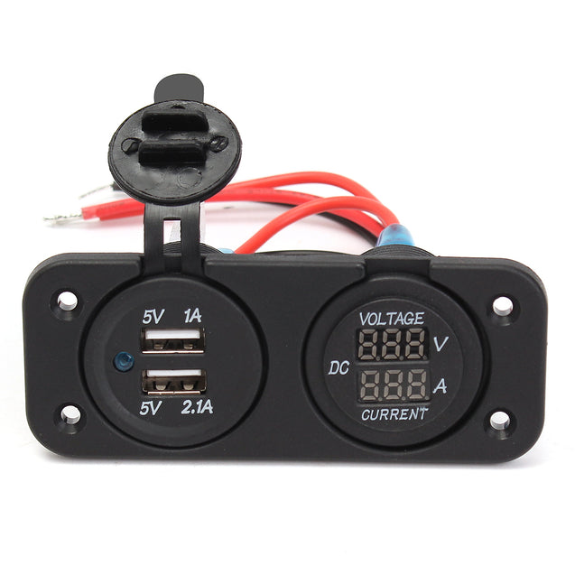 DC12-24V Waterproof Dustproof Dual Usb Port + LED Digital Volt Meterr + Ammeter