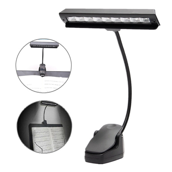 LED Clip-on Music Stand Clamp Night Light Bed Table Desk Reading Lamp