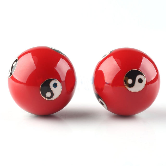 Chinese Cloisonne Baoding Balls Health Exercise Relaxation Therapy Stress Ying Yang Red Fitness Ball
