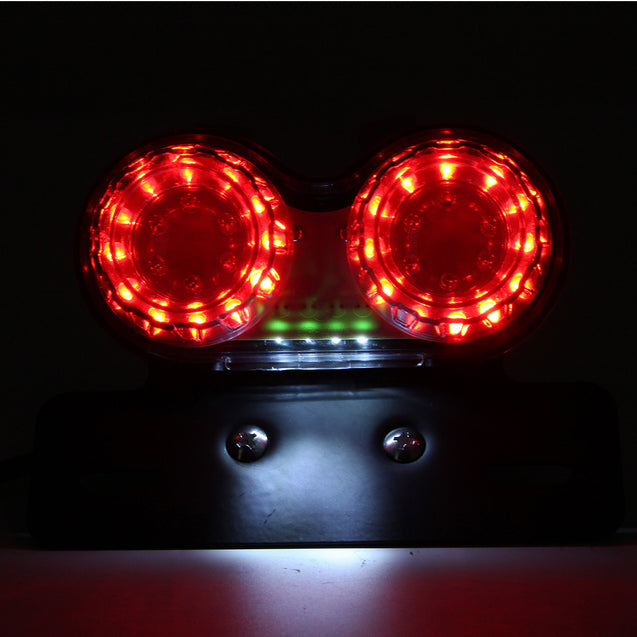 License Plate LED Brake Dual Tail Turn Signal Lights For Bobber Cafe ATV Chopper