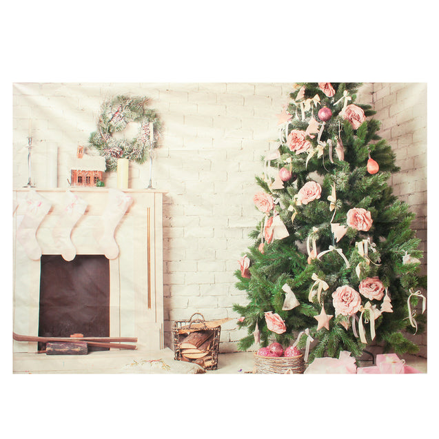 7x5ft Christmas Tree Fireplace Photography Backdrop Photo Studio Prop Background
