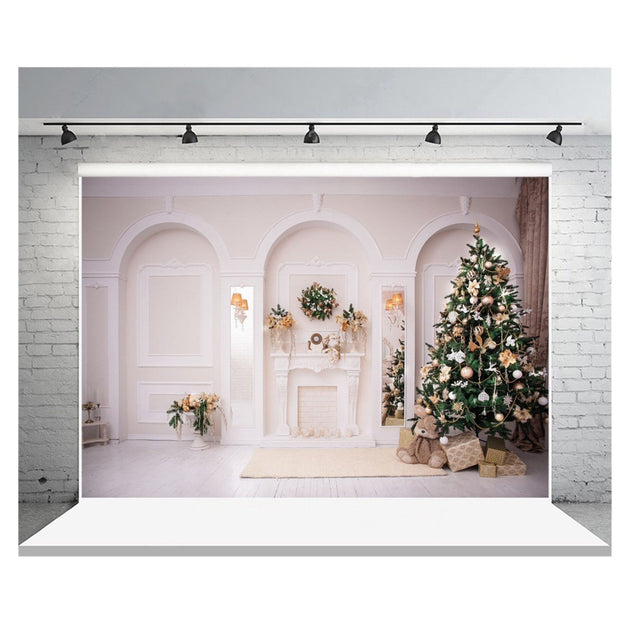 7x5FT White Room Christmas Tree Theme Photography Backdrop Studio Prop Background