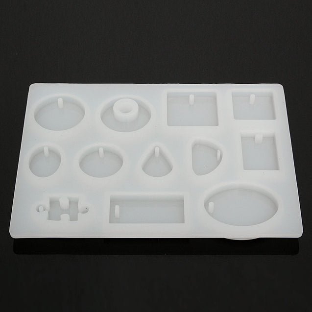 12 Models Silicone Mold Mould Resin DIY Pendant Jewelry Tools Accessories