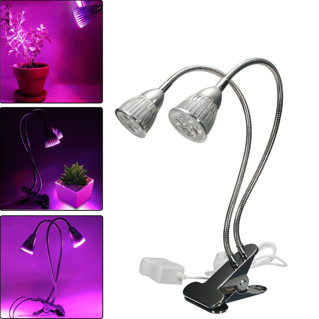 10W Dual Head Full Spectrum LED Grow Light Clip Kit for Indoor Plant Hydroponics US Plug 110-240V