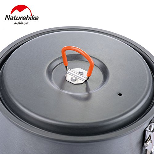 Naturehike 1.5L Aluminum Heat Exchanger Pot Portable Outdoor Cookware with Bowl and Spoon