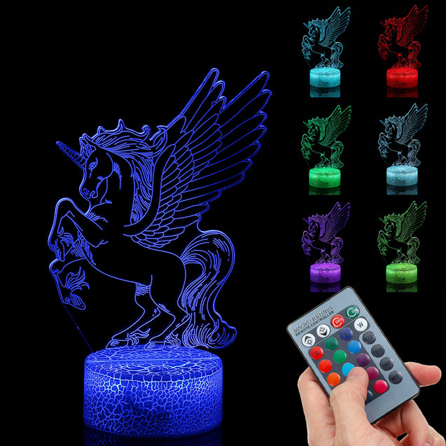 3D Visual Night Light LED Touch Remote Control Gift Home Party Decor USB Table Lamp