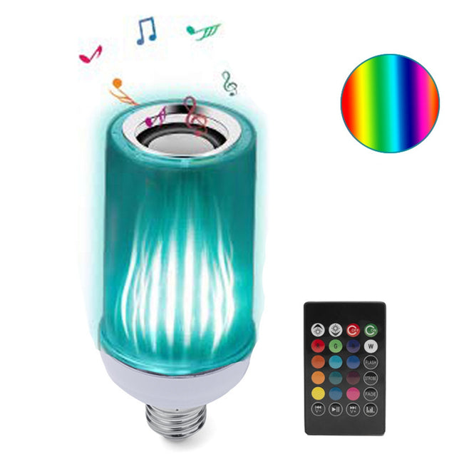 AC85-265V E27 8W Dimmable bluetooth Speaker RGB Flame Effect LED Bulb with 24 Keys Remote Control