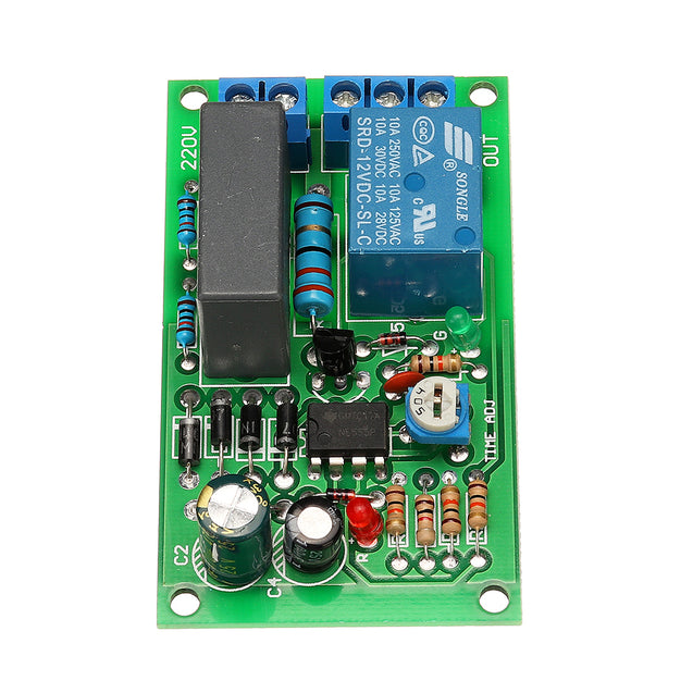 220V 10A 2200W Delay Relay Module Power On Delay Disconnect Circuit Board Corridor Switch