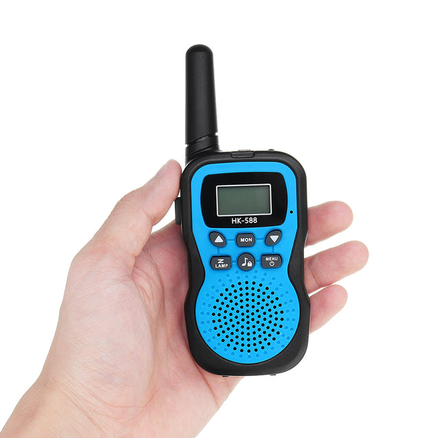 2pcs HK-588 0.5W UHF Auto Multi-Channels Mini Radios Walkie Talkie Built-in Flashlight Blue