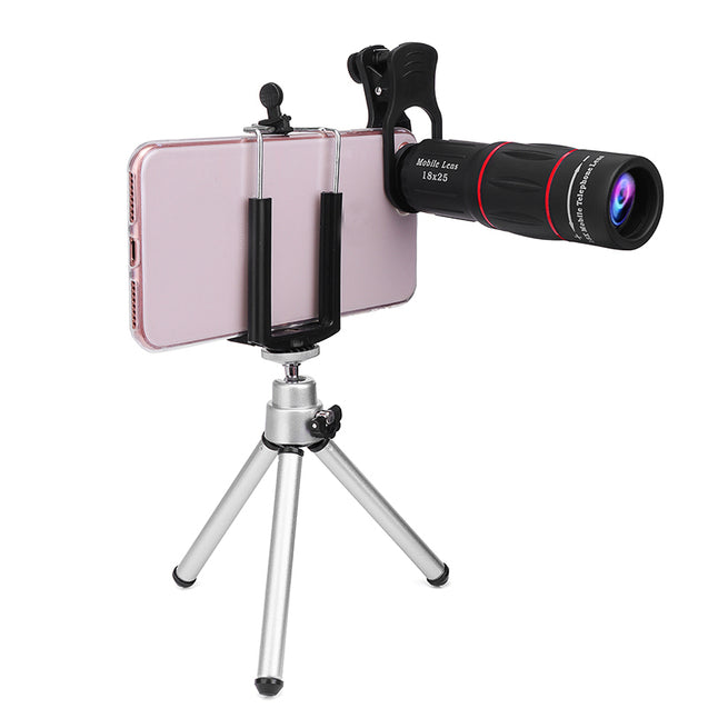 18X Optical Zoom Telephoto Telescope Lens Camera Monocular With Phone Holder Clip Tripod
