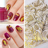 4 Sheet 3D Gold Embossed Nail Stickers Flower Blooming Decals Gorgeous DIY Design Manicure