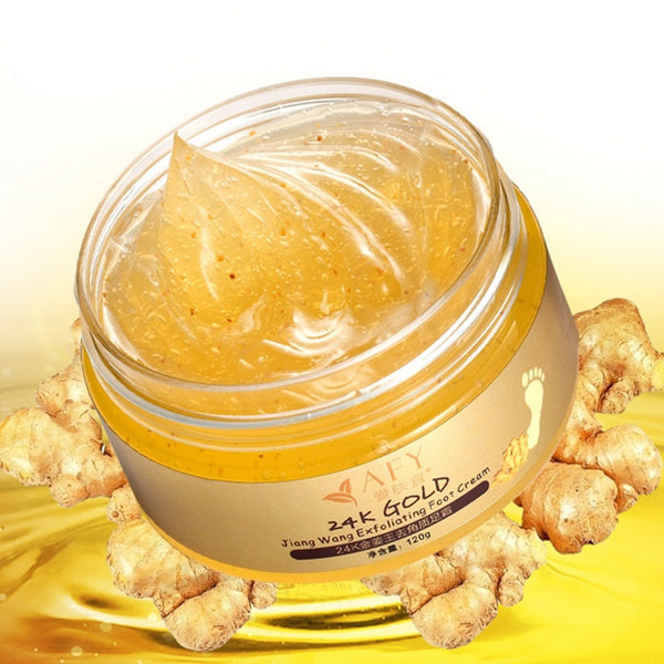 AFY 24K Essence Gold Ginger Exfoliate Foot Cream Feet Hard Dead Skin Remover Mask