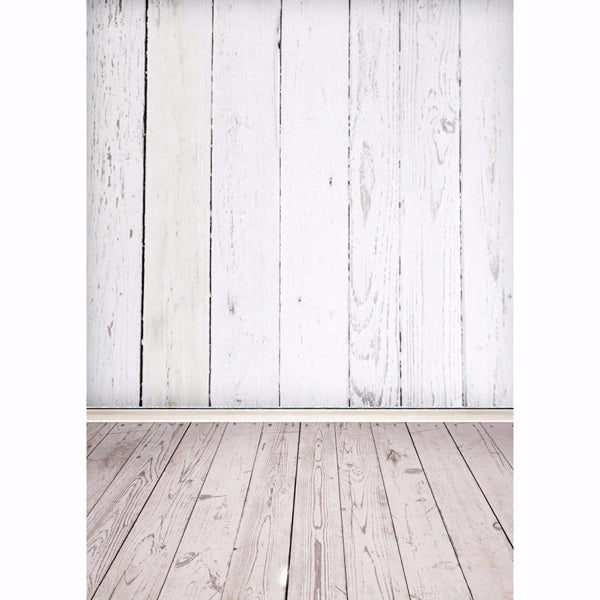 5X7ft Silk White Wood Wall Floor Photography Background Backdrop Shooting Studio Photo Props