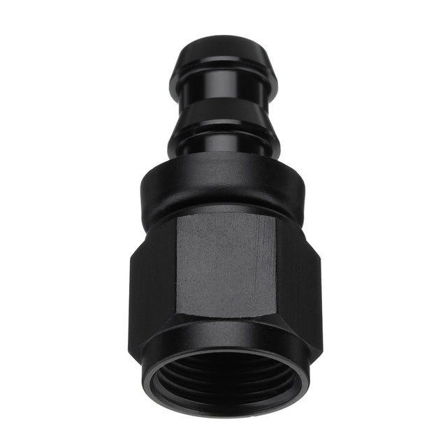 AN-8 Straight Fast Flow Push-On Oil Fuel Hose End Fitting Adapter Black