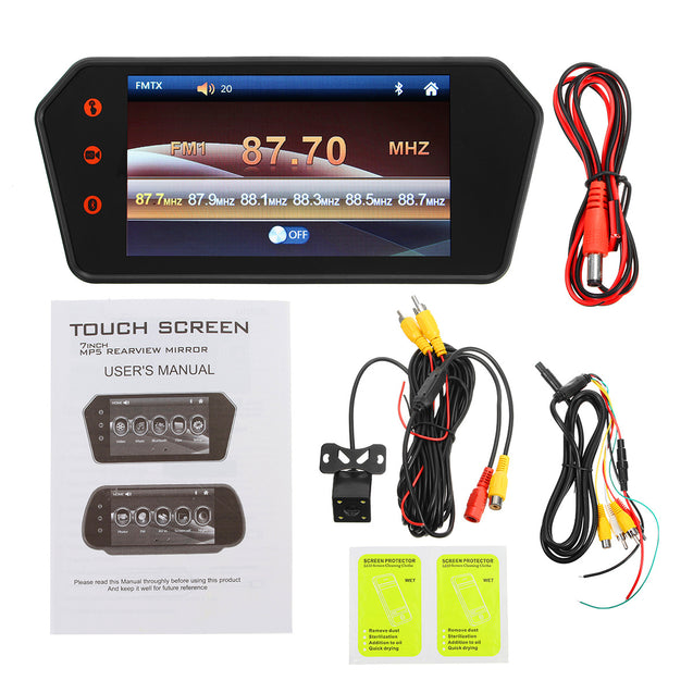 7 Inch LCD bluetooth Monitor Touch Screen MP5 HD Reversing Camera Car Rear View Parking