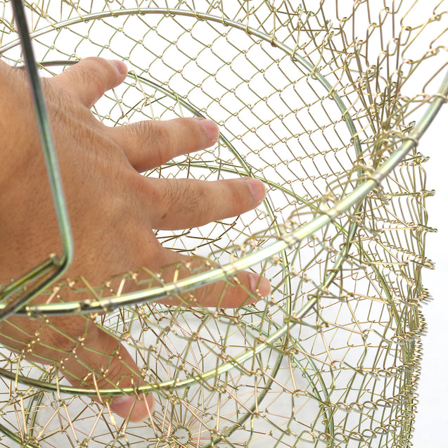30cm Length Foldable Steel Wire Fishing Pot Trap Net Crab Shrimp Cage Fishing Basket