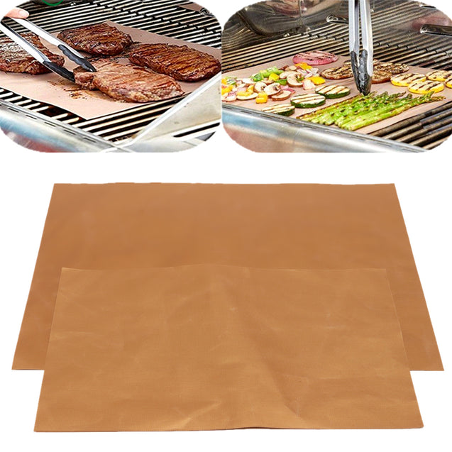 4Pcs Grill Mats BBQ And Bake Chef Non Stick Pad Camping Hiking Home Outdoor Tool