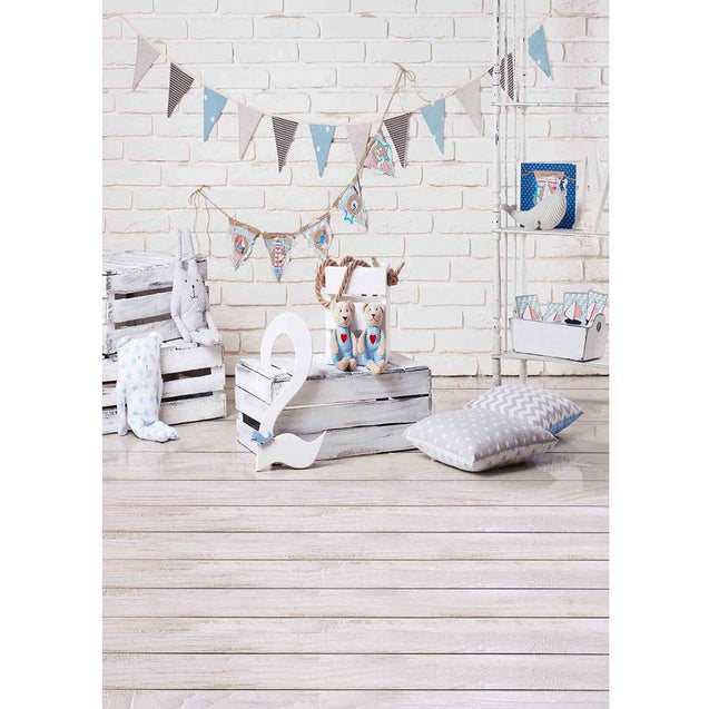 Bunting Flag Toy Bear Wooden Floor Photography Backgrounds Backdrop Vinyl Cloth