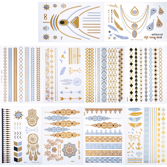 10 Sheets Waterproof Fashional Stamping Metal Tattoo Stickers Temporary Tattoos