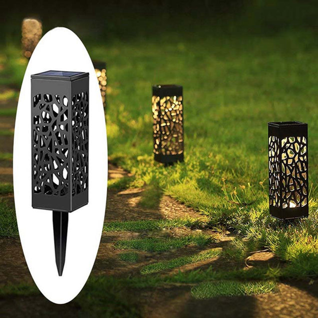 Solar Power Light Sensor Hollow Out Lawn Lamp Waterproof Pathway Outdoor Garden Landscape Light
