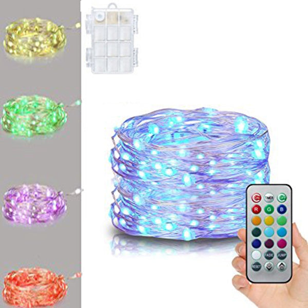 Battery Powered 5M Multi-Color Silver Wire String Lights + 21 Keys Remote Control For Christmas
