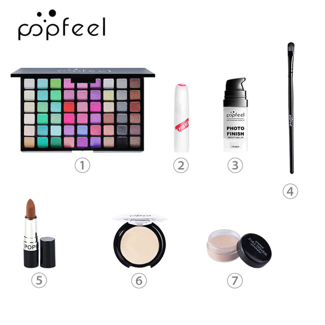 POPFEEL 7Pcs Makeup Set Easy To Apply Foundation Liquid Foundation Eye Shadow With Brush Tool