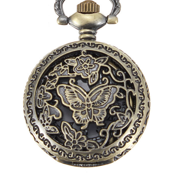 DEFFRUN Bronze Butterfly Engrave Pendant Chain Necklace Quartz Pocket Watch