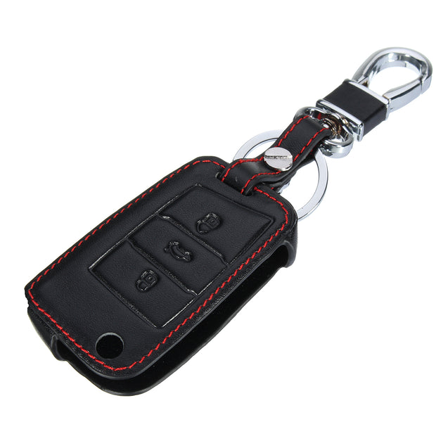3 Buttons PU Leather Key Case Cover For Skoda Octavia Fabia Superb Yeti Rapid