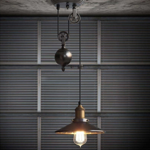 E27 Industrial Retro Pulley Pendant Light Restaurant Bar Ceiling Hanging Lamp Fixture AC110-240V