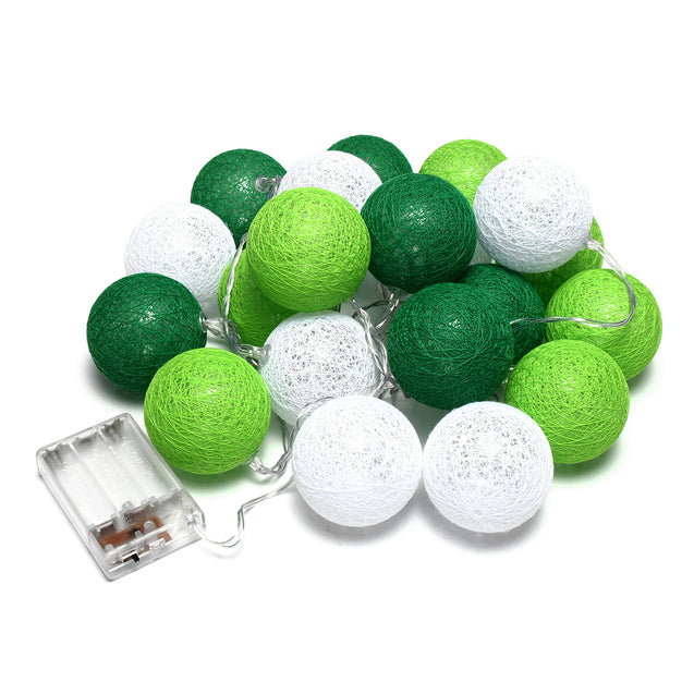 Battery Powered Warm White 20 LED Green Rattan Ball String Garden Fairy Lamp Party Holiday Light