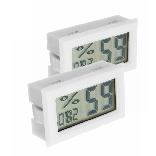 2Pcs Digital Mini LCD Digital Thermometer Hygrometer Fridge Freezer Temperature Humidity Meter White
