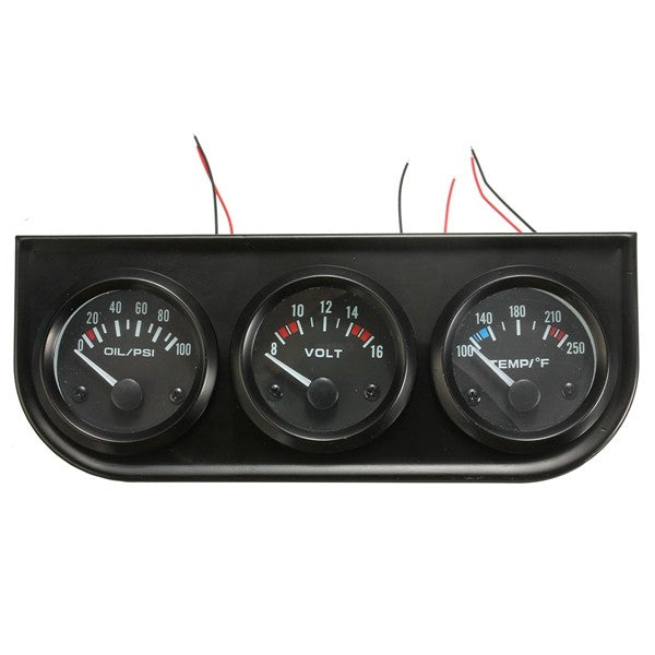 2 Inch 52mm Oil Pressure Volt Water Temp 3 Electronic Gauge Kits 8-16V LED Auto Car