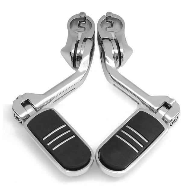 32mm 1.25Inch Adjustable Chrome Rear Foot Pegs Pedals For Harley Davidson