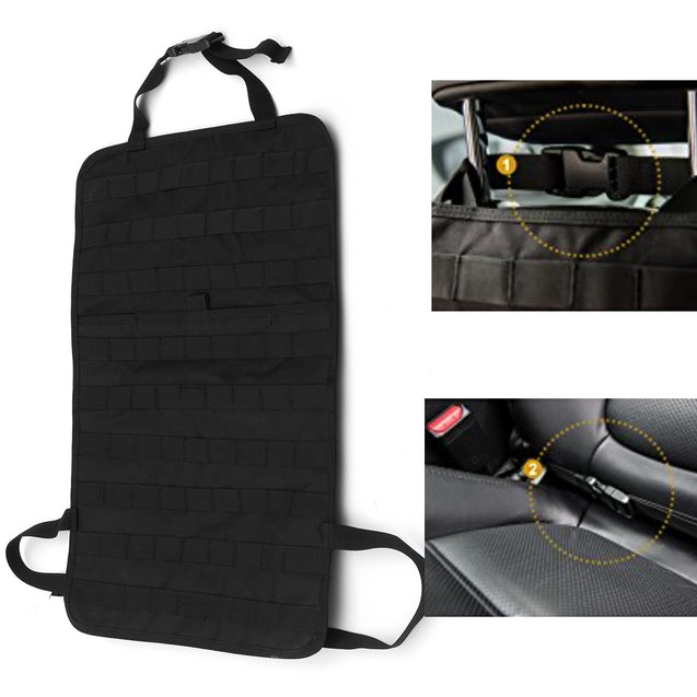 Universal Multi-functional Nylon Car Seat Back Storage bag Adjustable Organizer Army Fan Car Hanger
