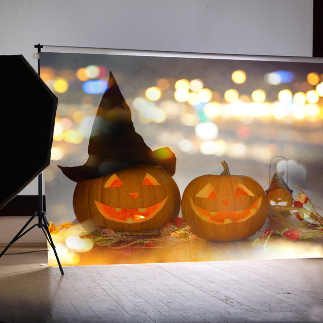 7x5FT Flashing Candlelight Pumpkin Lamp Theme Photography Backdrop Studio Prop Background