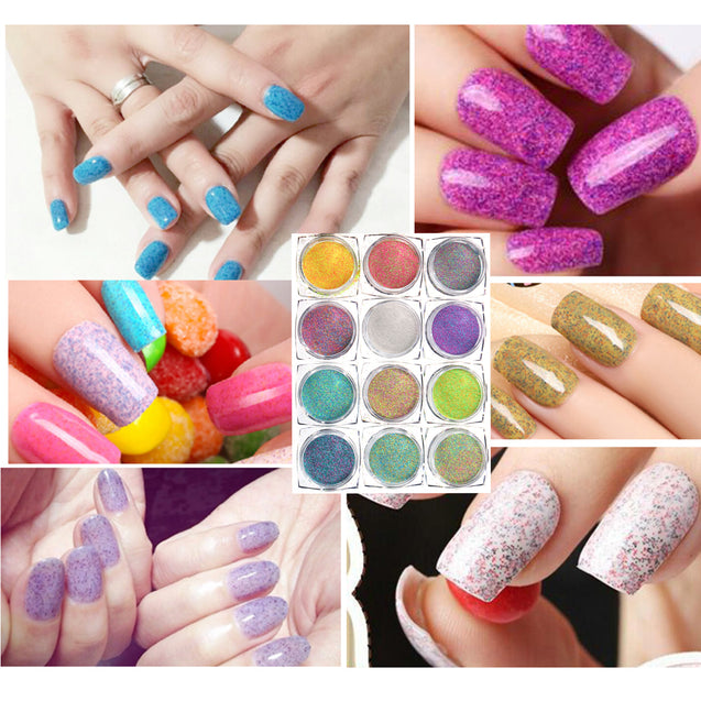 12 Colors Nail Glitter Powder Mixed Candy Sugar 3D Nail Art Manicure Decoration