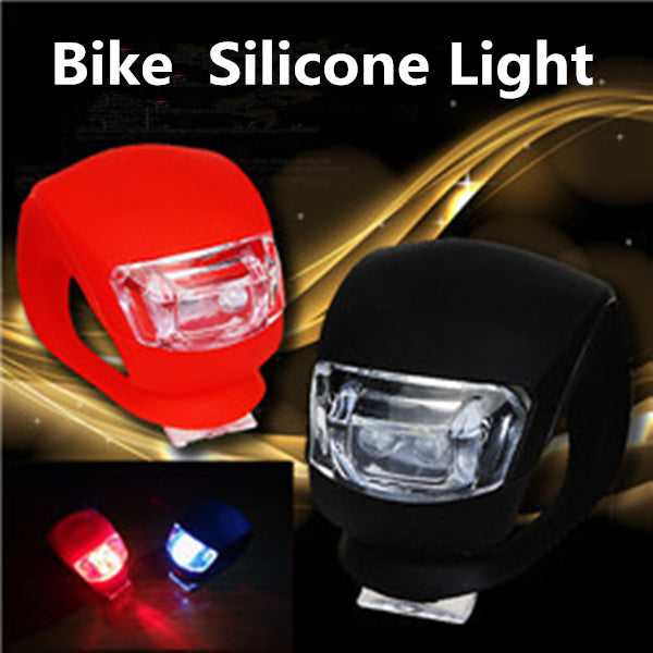 2PCS Red Bicycle Bike Light Waterproof Silicone LED Flashlight