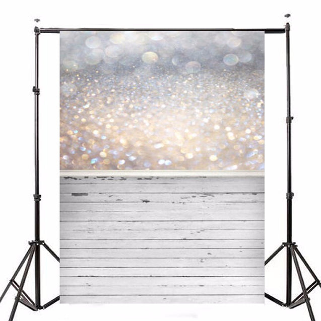 5x7ft Bokeh Glitter Wood Photography Vinyl Backdrop Studio Background 2.1m x 1.5m
