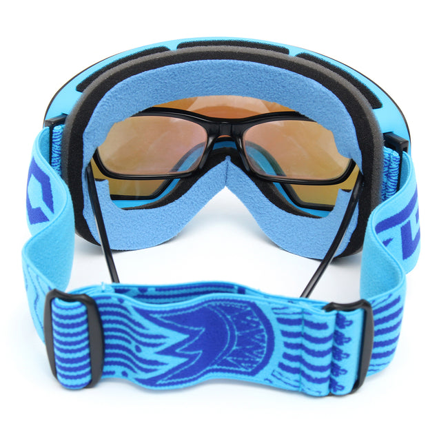 Professional Skiing Motorcycle Snowboard Ski Goggles Anti Fog UV Double Lens Blue