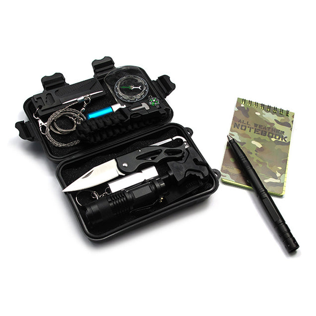 IPRee A7 12 in 1 Outdoor EDC Survival Tools Case SOS First-aid Emergency Multi-functional Kit Box