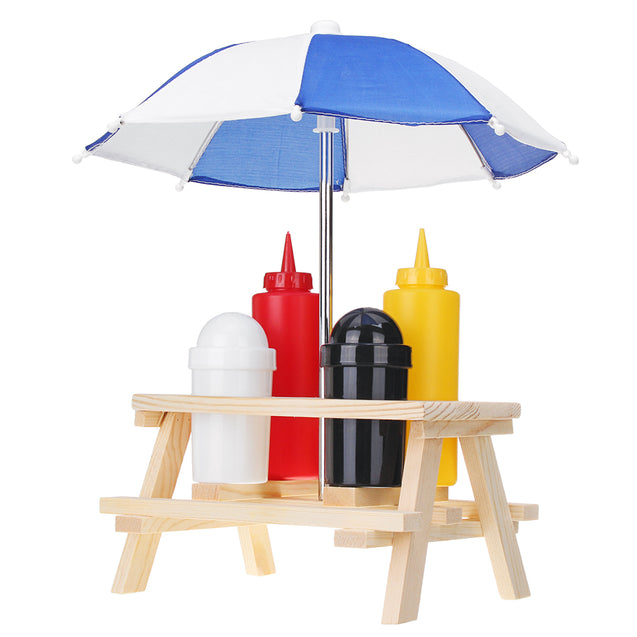 Outdoor Camping BBQ Tools Condiment Jar Set Salt Pepper Sauce Bottle Holder Tent Table Parasol