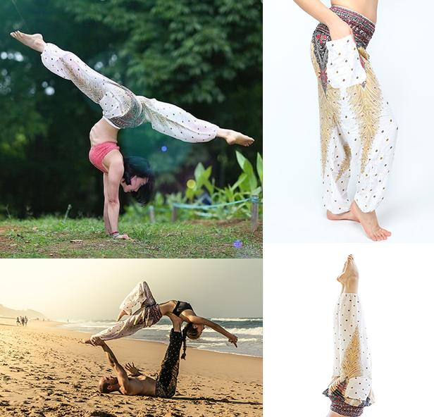 Bhemian Island Thai Linen Yoga Pants Original Style White Peacock Trousers Elastic Loose Bloomers