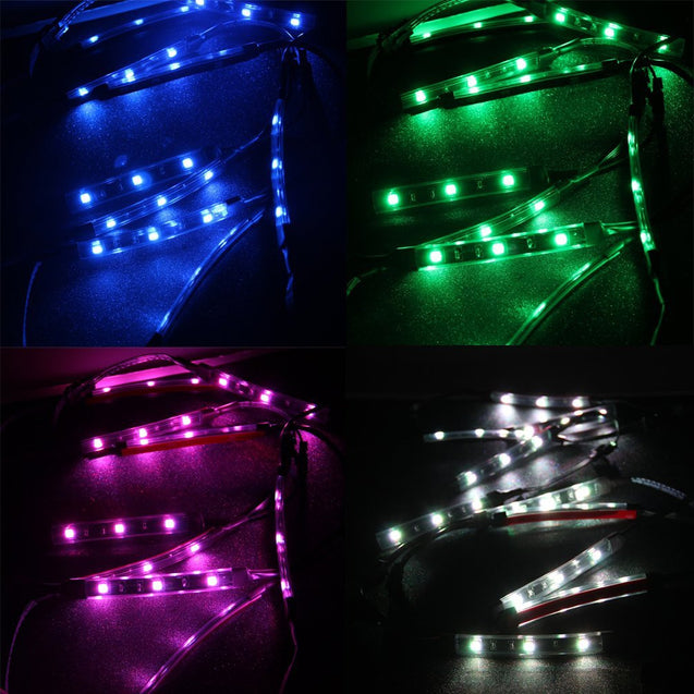 12Pcs 18 Colors Motorcycle LED Neon Flexible Strips Light Lighting Kit 2 Million