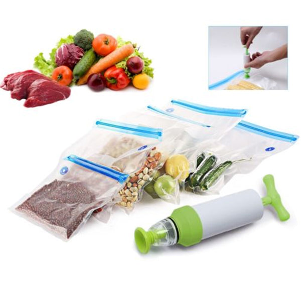 IPRee 5 Pcs Storage Bags Vacuum Food Sealer Packaging Manual Hand Pump Outdoor Travel Kitchen Tools
