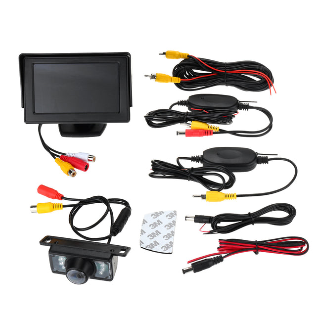 Wireless Car Rear View Kit 4.3 Inch TFT LCD Monitor 7 IR LED Reversing Camera 135 Degree