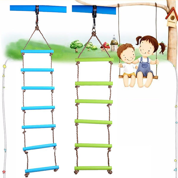 6 Rungs 2M PE Rope Children Toy Swing Max load 120KG Outdoor Indoor Plastic Ladder Rope Playground G