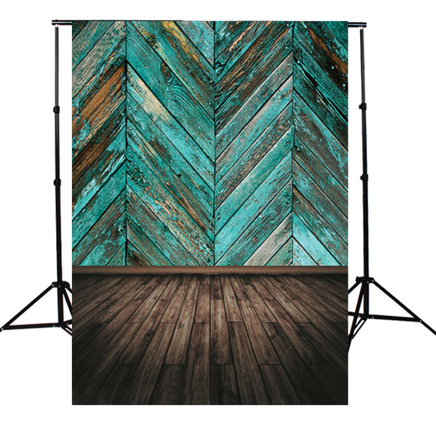 Retro Blue Paint Wooden Floor Board Twill Cloth Photography Background Backdrop