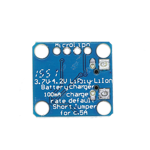 3.7V 4.2V 5V 100mA Micro-Lipo Charger USB Battery Charging Board Micro-B Connector Lithium for LiPoLiIon V1